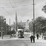 Graham's Road with tram (c1920s)