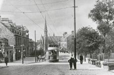 Graham's Road with tram (c1920s)