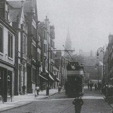 Tram in Vicar Street, looking south