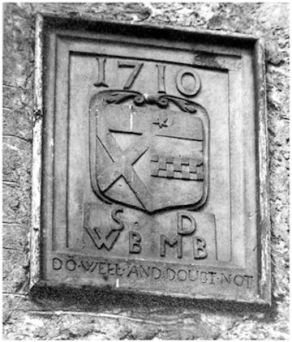 Illus: The 1710 coat-of-arms from a building in the grounds of Stenhouse.