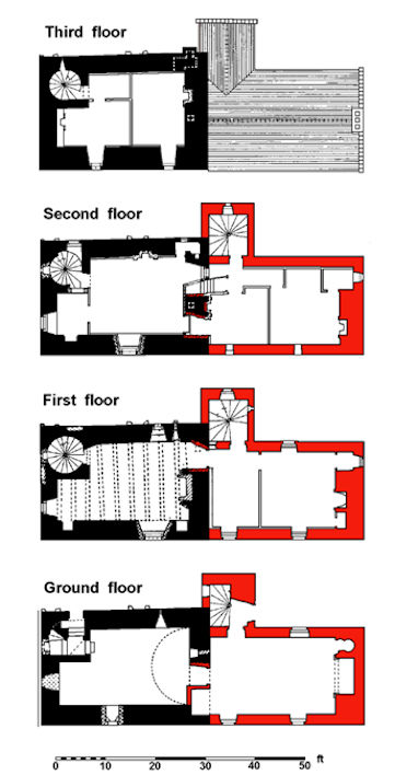 Illus 17: Floor Plans of Castlecary Castle with the 1679 Extension shown in red.