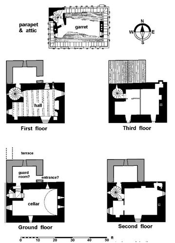 Illus 9: Floor Plans of the 15th century Tower House.  The north wing is conjectural and is shown in grey.